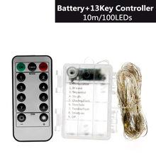 Светодиодный струнный светильник s батарея работает 5 м 50LED / 10 м 100LED светильник ing String наружный внутренний Декоративный Рождественский свети...(Китай)