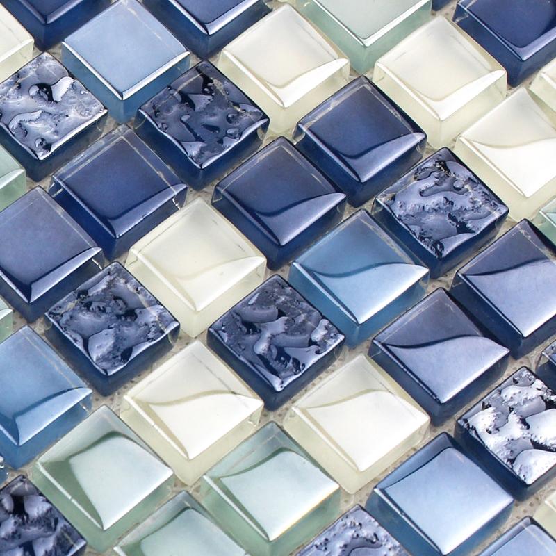 Bathroom Wall Mosaics Sea Blue Glass Backsplash Mirror