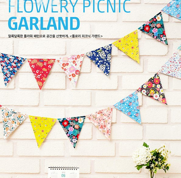 New Korean Style Party Pennant Floral Paper Banners