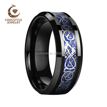 8mm Tungsten Wedding Band Blue Silver Dragon Inlay Engagement Rings Polish Shiny Edges Classic Tungsten Carbide Rings