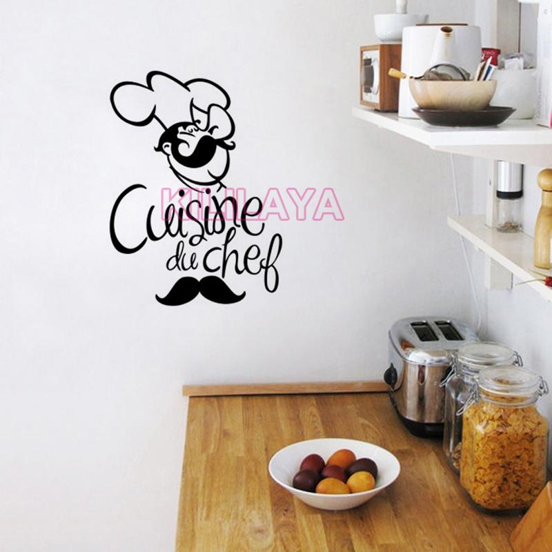 buy stickers french cuisine du chef bar vinyl wall sticker decals mural art wallpaper kitchen. Black Bedroom Furniture Sets. Home Design Ideas