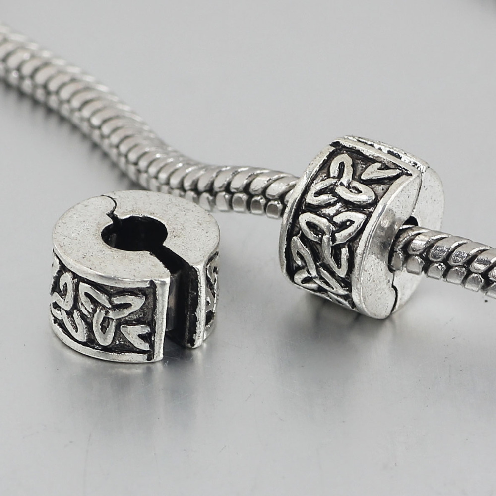Pandora Jewelry Free Shipping: Free Shipping 1pc Silver Leaves Clip Heart Stopper Bead