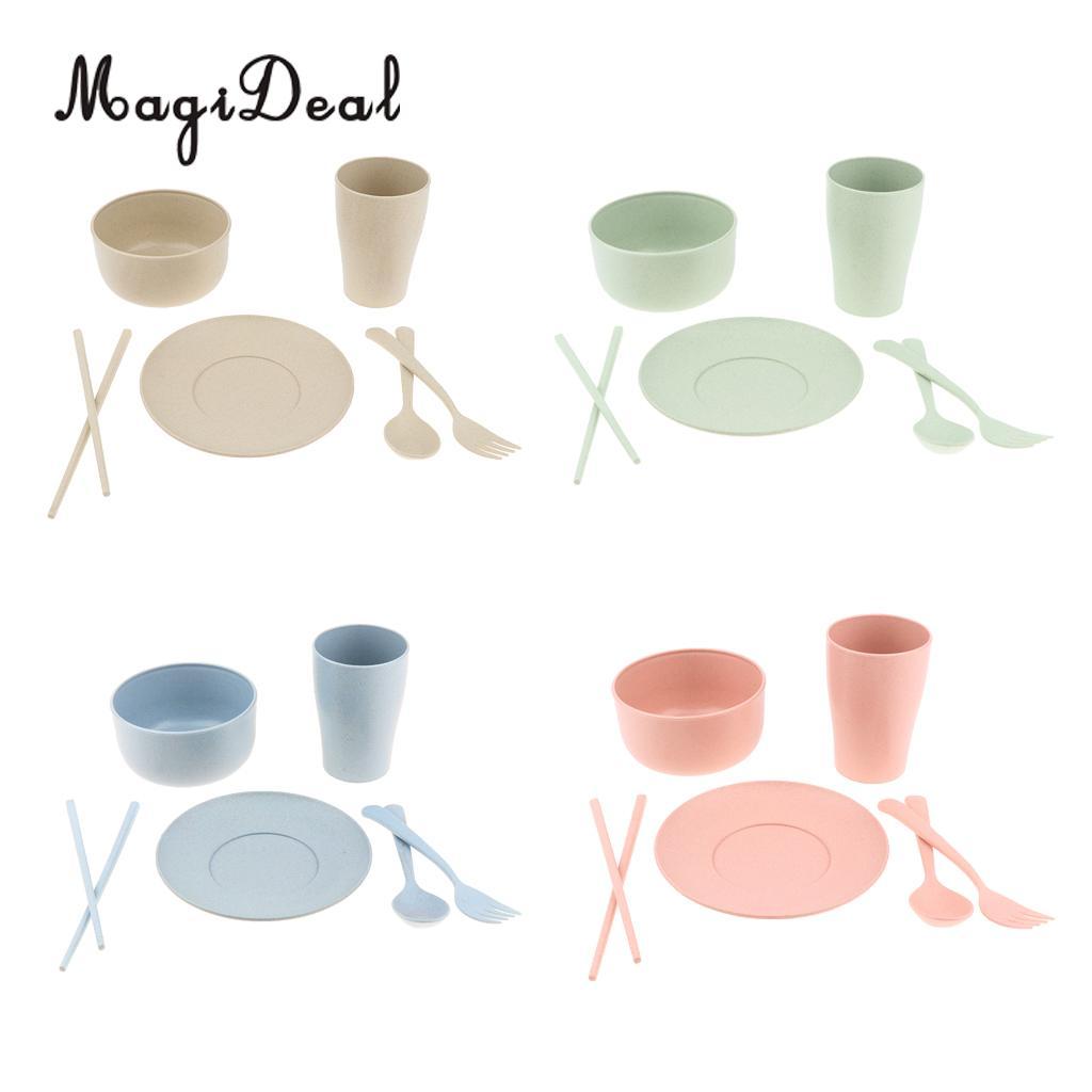 4 Mugs 4 Soup Bowls 4 Spoons 4 Forks 8 Plates Magideal 24pcs Food Grade Reusable Outdoor Party Picnic Camping Tableware Set