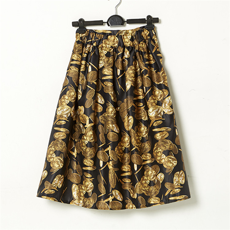 women skirt gold printed faldas cortas luxury high waist vintage skirts womens jupe crayon jupe. Black Bedroom Furniture Sets. Home Design Ideas