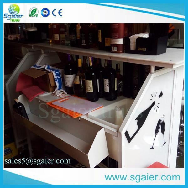 Popular white color LED lighting portable liquir bar table sale