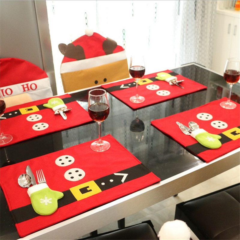 43X33cm Good Quality Red Chirstmas Table Cloth Xmas Santa
