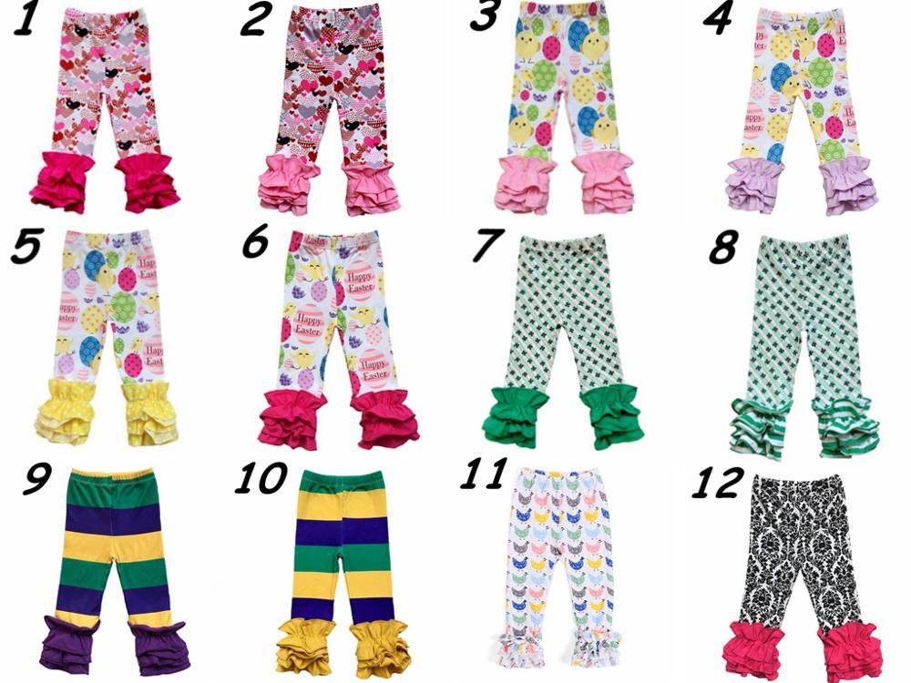 Леггинсы с оборками для малышей, изысканные пасхальные праздничные штаны для девочек на День святого Валентина, весна-осень