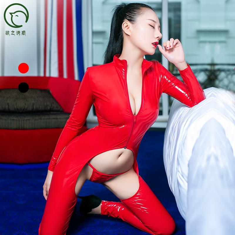 Женская эротическая блестящая кожаная Клубная одежда, облегающий купальник, вырез на бедрах, комбинезон с стрингами, сексуальный костюм-кошка zentai