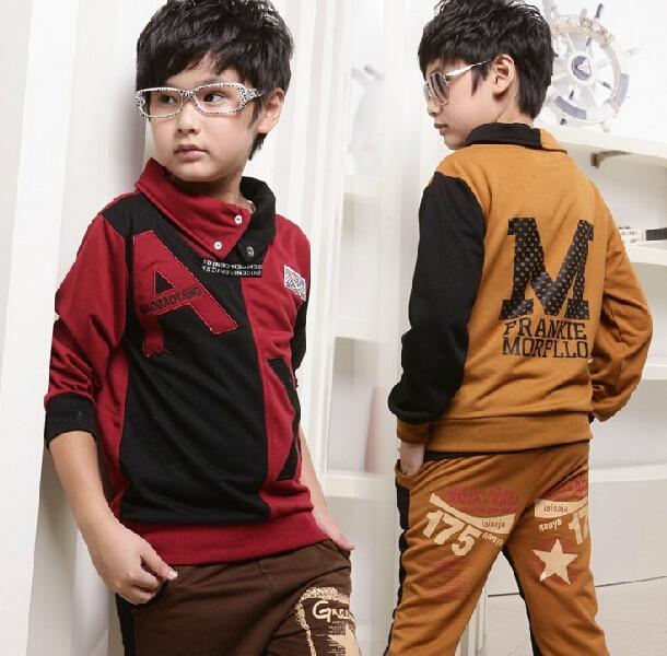 2016 Spring Autumn Childrens Sports Suit Boy Top+ Pants 2 pieces Set Kids Boys Casual Long-Sleeved Letter Patchwork Clothes Suit