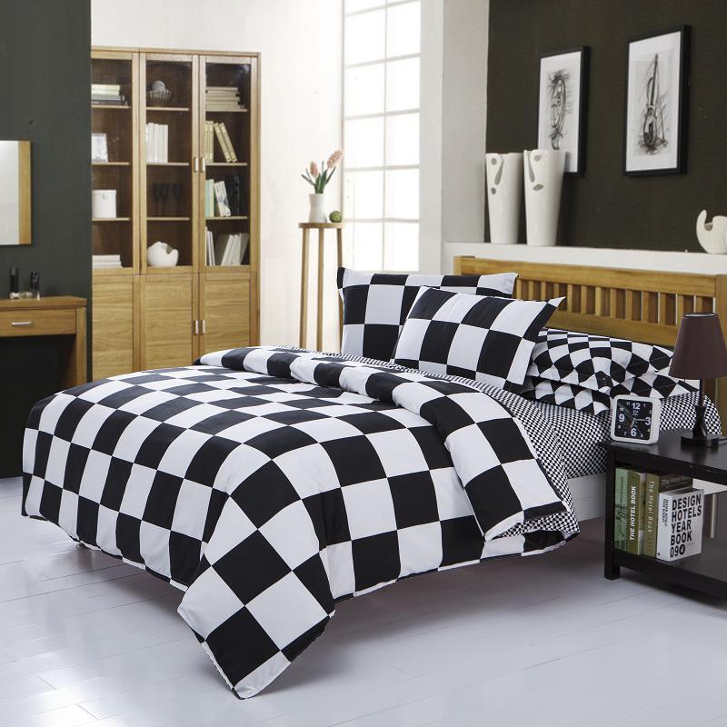 luxury bedding black white queen comforter sets bedding set king size cotton duvet cover plaid. Black Bedroom Furniture Sets. Home Design Ideas