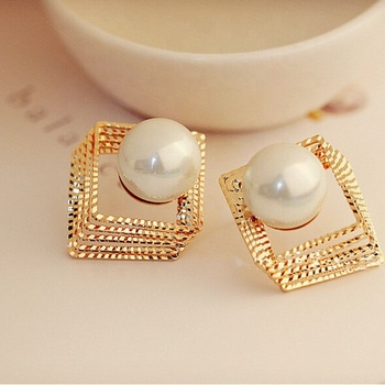 American bohemian gold earring wild carved jewelry national style pearl stud earrings women