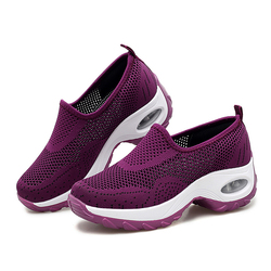 Custom Fashion Women's Fashion pink wedge workout Casual Running Shoes Lady's Breathable Mesh Fabric Soft Sneaker ladies