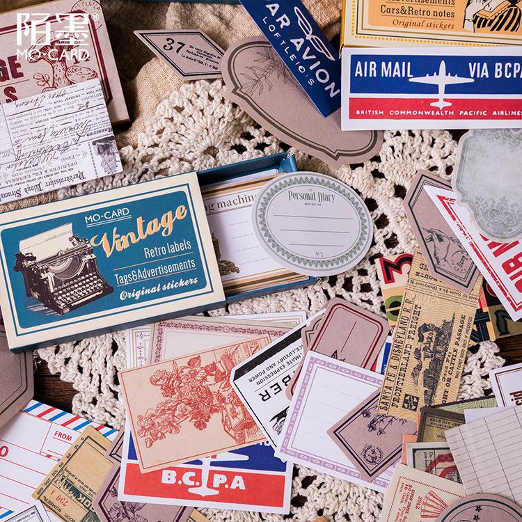Vintage Plant Travel Matchbox Diary Stickers Retro Stamps Scrapbooking Korean Cute Journal Sticker Label
