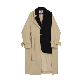 Autumn Short Long combination classical style Trench Coat Long Sleeve with Belt Coat