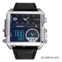 Мужские крупные военные наручные часы BOAMIGO, черного цвета, кварцевые, спортивные, с кожаным ремешком, с 3 часовыми поясами и светодиодным дис...(China)
