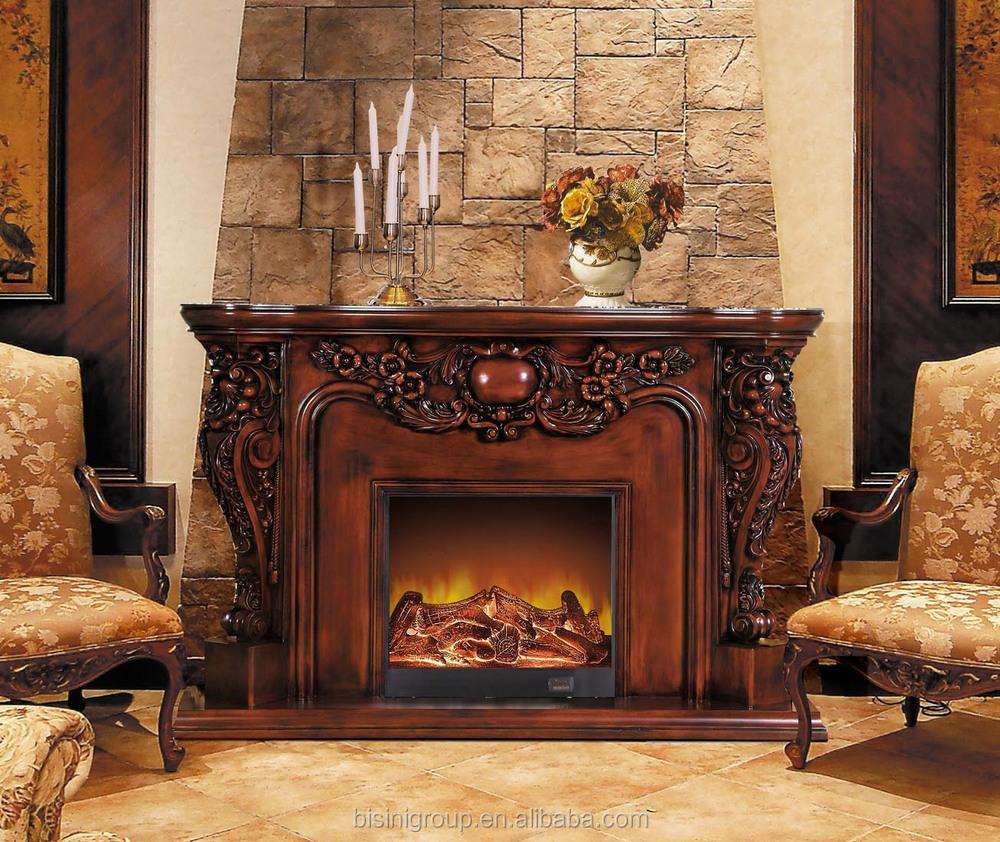 elaborado de lujo chimenea elctrica natural marrn pintado antiguo chimenea elctrica