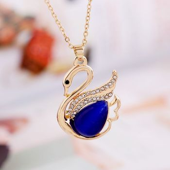 Latest Model Fashion Gold Opal Swan Pendant Necklace Indian Jewellery In YIWU