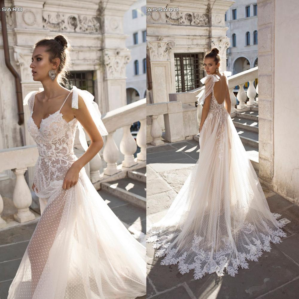 Bhd18 Sexy Lace Dot Tulle Bride Beach Casual Bride Gown Simple ...