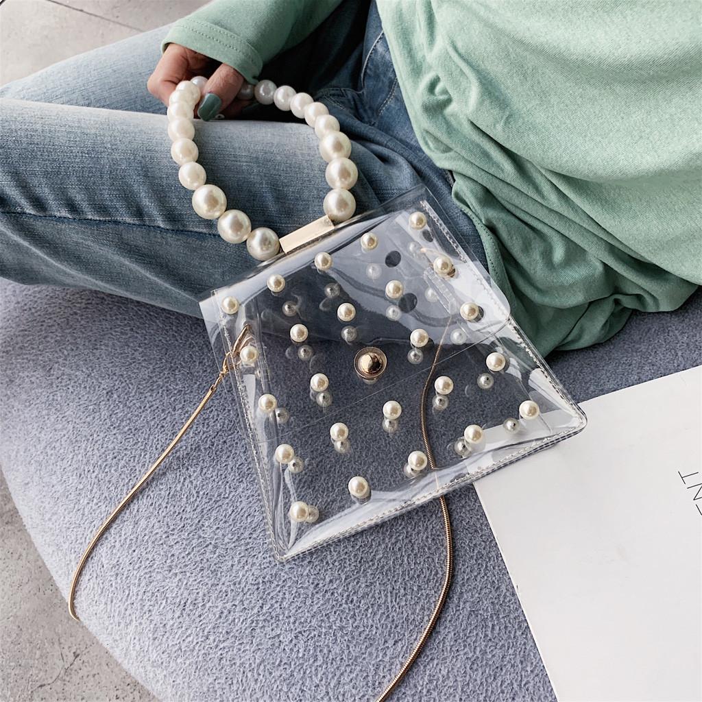 Модные женские сумки через плечо с жемчужинами, женские милые водонепроницаемые сумки-мессенджеры, прозрачные женские сумки через плечо(Китай)