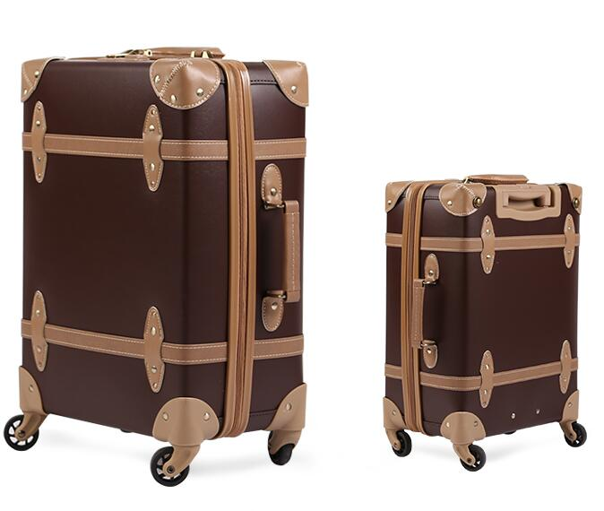 Vintage Trolley Leather Corner Luggage,Small Size Laptop suitcase,PU Leather ABS Luggage