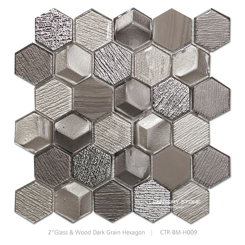 Silver Mix Brown Hexagon Mosaic Tile For Kitchen Wall