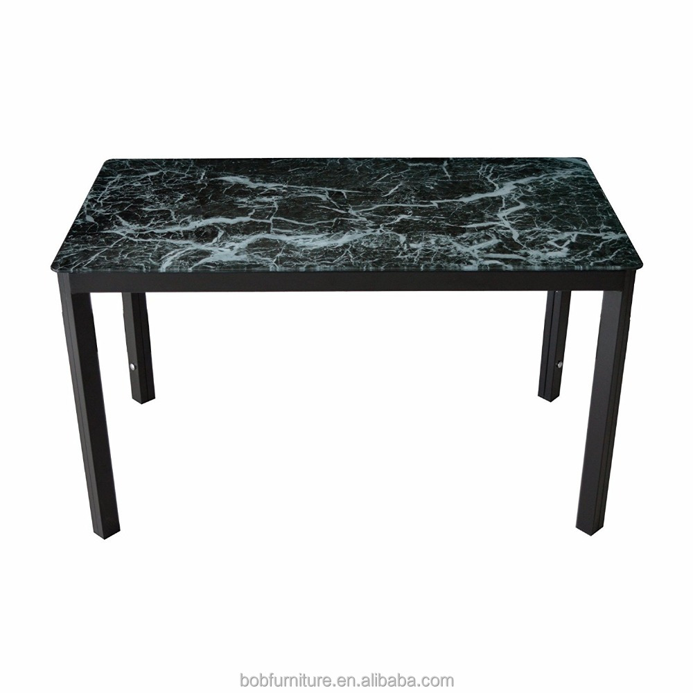 Metal Kitchen Dining set with marble top glass