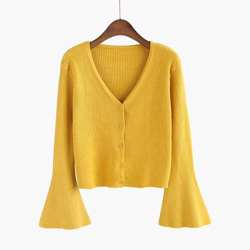 2019 Women Autumn Chic Flare Sleeve Cardigan Casual Solid Button ... 9435258ec