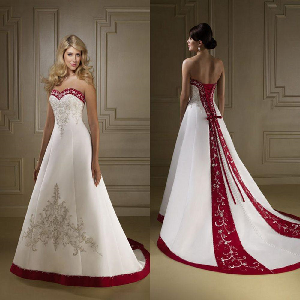 Wedding Gowns With Red: Exquisite Strapless Red And White Wedding Dresses A Line