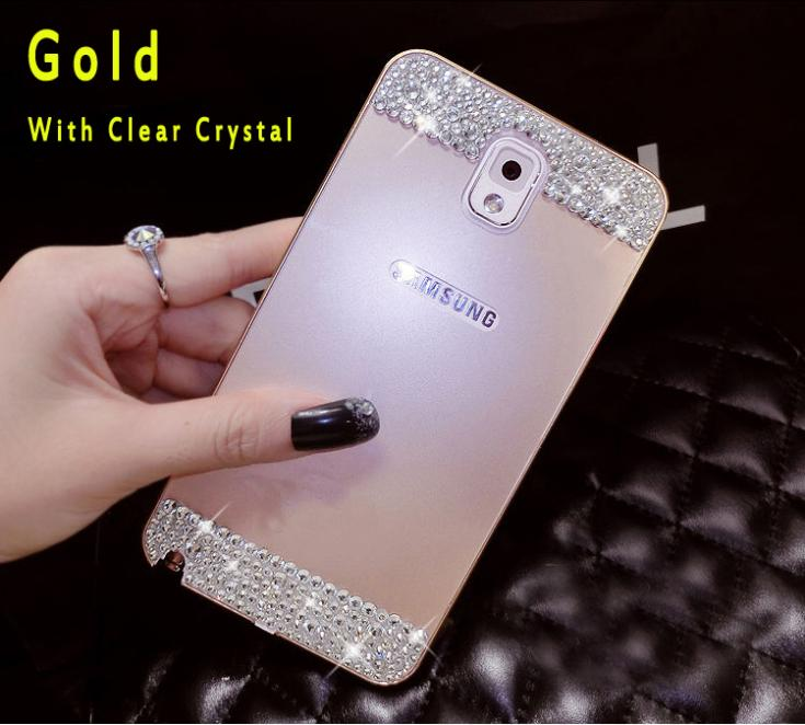 more photos 71bbe 8f8ef Wholesale-Bling crystal Metal Bumper Frame Case Back Cover For Samsung  Galaxy note 4 3 N9000 S5 i9600 G900 S4 S6 S6 edge rhinestone case