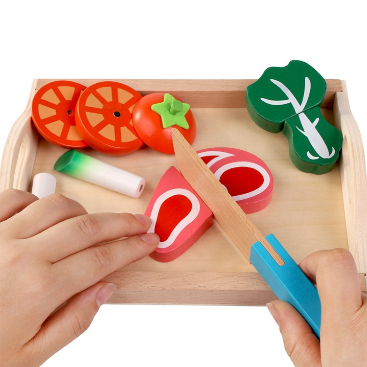 simulation kitchen series toys Cutting Fruit and Vegetable pretend play kitchen food wooden cutting fruit toy