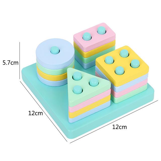 Детские развивающие игрушки Монтессори, макроны, четыре набора колонн с геометрическими фигурами, строительные блоки, соответствующие цветные блоки