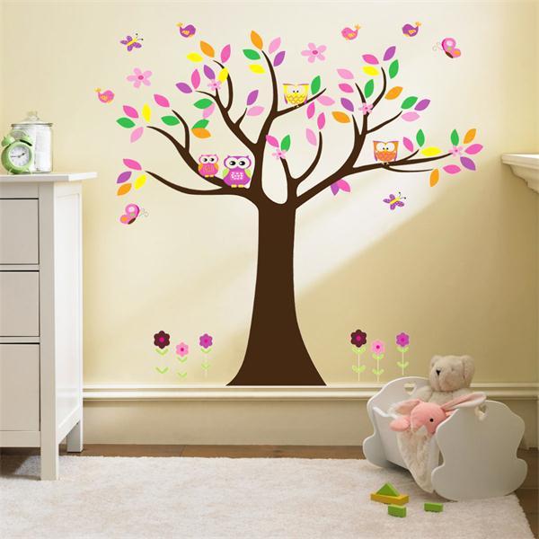 * Bella colorfull Crescere albero gufi per la decorazione domestica per bambini adesivo decorativo adesivo de parede pvc estraibile wall sticker