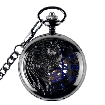 2019 Black Steampunk Skeleton Pendant Hand Wind Mechanical Pocket Watch Men Antique Luxury Retro Fob Watches Chain Male Clock