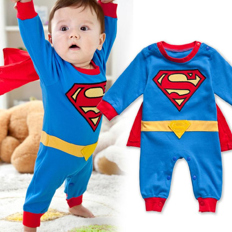 2016 new fashion baby clothing Romper boys handsome gentleman Superman embroidered baby cotton jumpsuit + cloak sets
