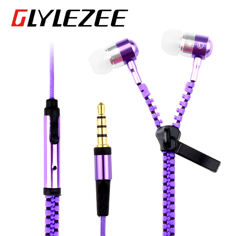 Colorful Metal Zipper Style Earphone Fashion Headset 3 5mm Microphone Stereo Bass for Mobile Phone iPad