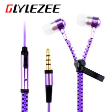 Colorful Metal Zipper Style Earphone Fashion Headset 3.5mm Microphone Stereo Bass for Mobile Phone iPad MP3 MP4 Speaker Fm Radio