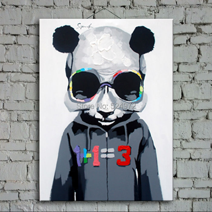 100% Hand-painted modern home decor wall art picture for living room cool panda cartoon animal oil painting on canvas no frame