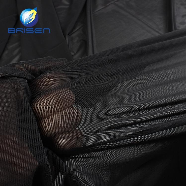Black Super Elastic Textured Stretch Nylon Mesh Fabrics Wholesale