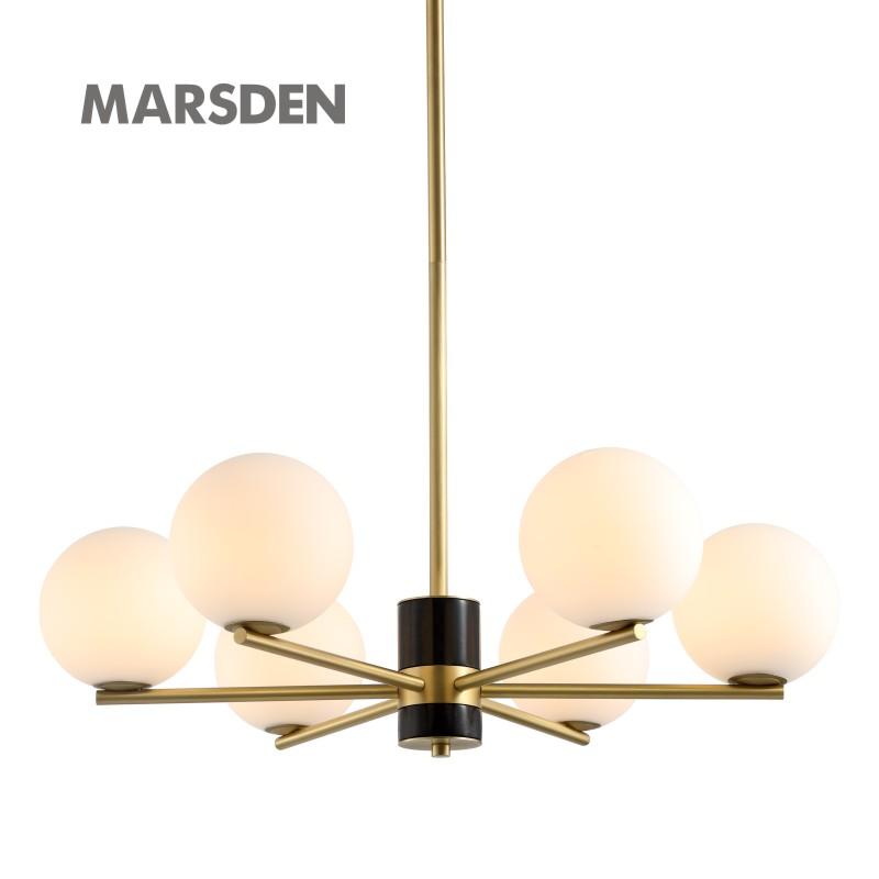 Современная белая люстра MARSDEN, латунная черная мраморная ручная люстра из дутого стекла с хрустальными шариками