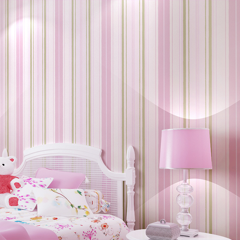 Simplicity striped mediterranean wallpaper blue pink non - Pink and white striped wallpaper bedroom ...