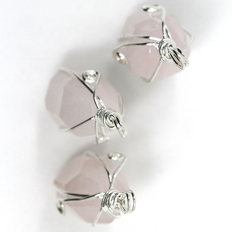 Lovely Natural Pink Crystal Stone Rose Quartz Necklace Pendant Charms Jewelry Making for Girl