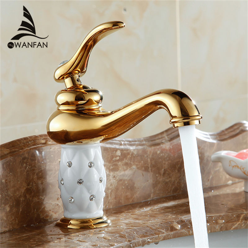 Buy free shipping bathroom basin gold - Gold bathroom faucets with crystal handles ...