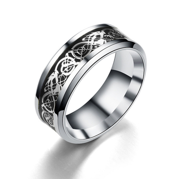 Men's Stainless Steel Luminous Ring With Celtic Dragon Rings