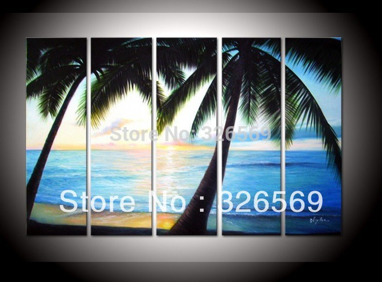 100% Hand painted Sea wind beach homing blue ocean landscape Wall home Decor Oil Painting on canvas 5pcs/set