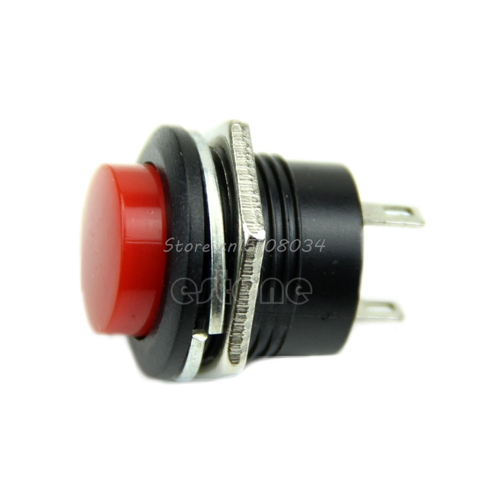 New Momentary SPST NO Red Round Cap Push Button Switch AC