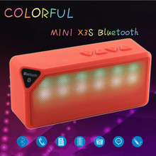 Mini X3S Colorful LED Lights Pulse Built-in mic Wireless Bluetooth 2.0 Speaker Support Handsfree TF AUX FM Radio for Smartphone