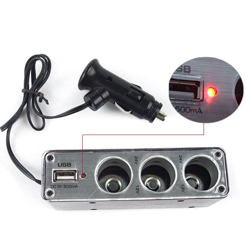 Высокое качество 3 разъём(ов) автомобильного прикуривателя разветвитель зарядное устройство адаптер питания DC + порт разъем USB 12 В - 24 В бесплатная доставка