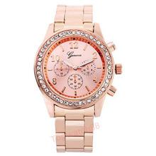 2015 Fashion Watch Geneva Unisex Quartz Watch Women Analog Wristwatches Bling Crystal Clocks Stainless Steel Watch Relogio Reloj