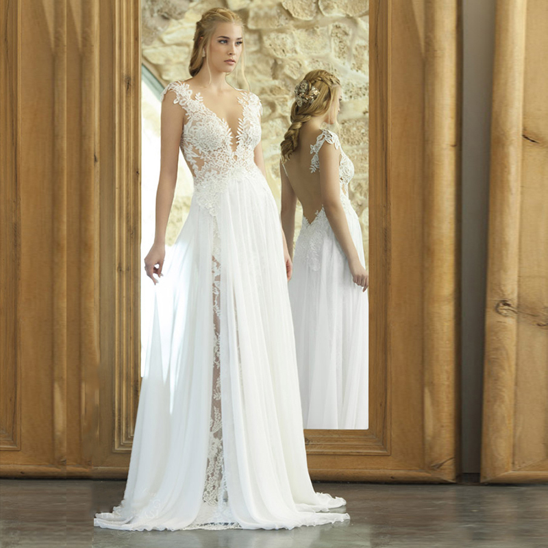 Backless Beach Wedding Dresses V Neck Flowing Vintage Boho: Online Buy Wholesale Simple Beach Wedding Dresses From