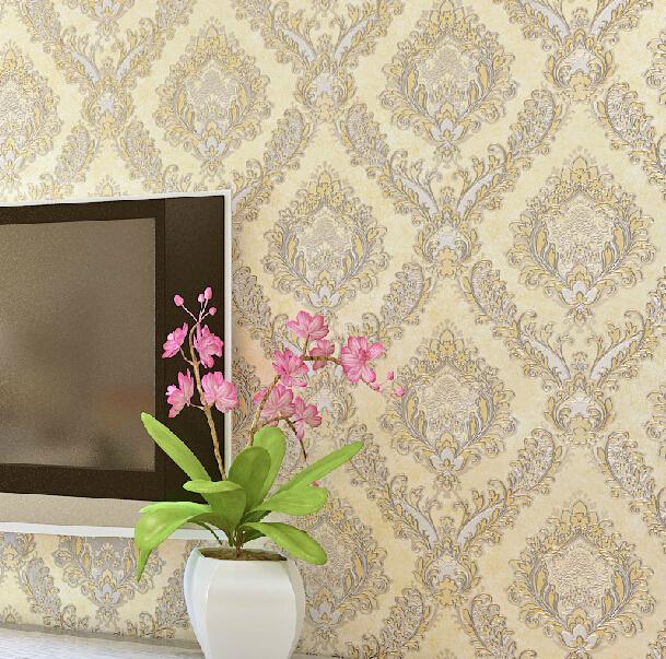 european damascus vintage floral wallpaper luxury metal crochet mural wall paper bedroom living. Black Bedroom Furniture Sets. Home Design Ideas